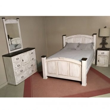 MILLION DOLLAR RUSTIC QUEEN WEATHERED WHITEWASH W/DARK TOP BED/DRS/MR/NT BEDROOM SET