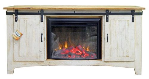 MILLION DOLLAR RUSTIC 70 EGGSHELL DARK TOP BARNDOOR FIREPLACE