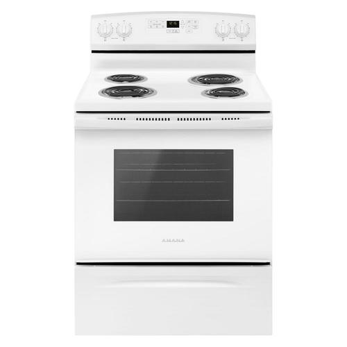 AMANA 4.8 CU FT 30 SELF CLEAN COIL STOVE WHITE