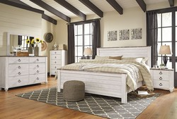 ASHLEY QUEEN WHITE WASH W/BROWN WOODGRAIN TOP HD/DRS/MIR/NIT BEDROOM SET