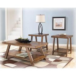 ASHLEY BURNISHED BRWN PLANK 3PC COFFEE W/SHELF COFFEE/END TABLE