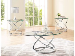 BERNARD BLK METAL 3PC TABLE SET  W/GLASS/