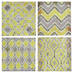 STYLECRAFT YELLOW/GRAY 4PC CANVAS WALL ART