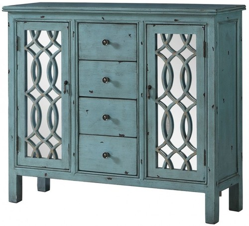 COASTER LIGHT BLUE 42 ACCENT TABLE WITH MIRRORED DOORS