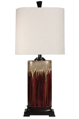 STYLECRAFT BROWN/BEIGE DRIP GLAZE CERAMIC LAMP