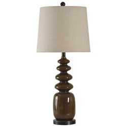 STYLECRAFT CHOCOLATE BROWN GLASS DISC LAMP W/LINEN SHADE