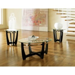 STEVE SILVER ROUND BLACK COF/2END CIRCLE GLASS MATINEE COFFEE/END TABLE