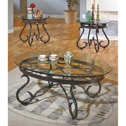 STEVE SILVER BLACK CURVED METAL COF/ENDS W/GLASS TOP LOLA COFFEE/END TABLES