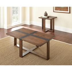 STEVE SILVER SQUARE BROWN COF/2END W/BLK CROSS ACCENT KLARISSA COFFEE/END TABLES