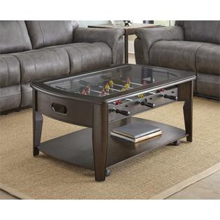 STEVE SILVER DARK BROWN FOOSEBALL COFFEE TABLE ONLY W/GLS TOP COFFEE/END TABLES