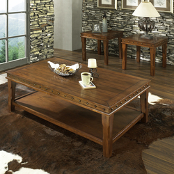 STEVE SILVER MED BROWN COF W/TRAY & NAILHEADS 2 ENDS ODESSA COFFEE/END TABLES