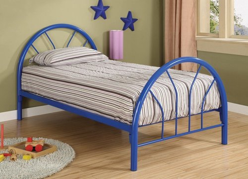 COASTER BLUE IRON TWIN BED WITH MATTRESS Children Bedroom Furniture