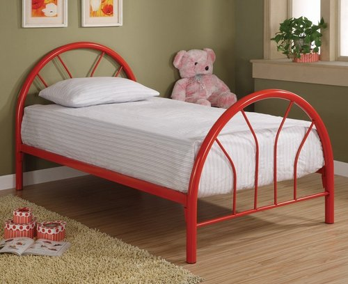 COASTER RED IRON TWIN BED WITH MATTRESS Children Bedroom Furniture