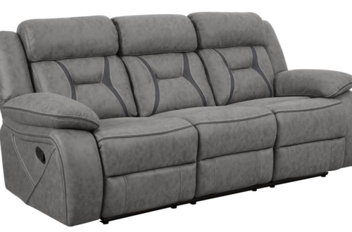 COASTER GRY 2 REC SOFA BSBL STCH W/DK GRY ACCNT ON SEAT SOFA ONLY