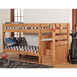 SIMPLY BUNK BED STAIR BUNK CHESTNUT BUNKBEDS