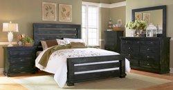 PROGRESSIVE QUEEN DISTRESSED BLACK SLAT BED/DRSR/MIR/NIT BEDROOM SET