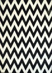 PERSIAN BLACK/CREAM CHEVRON SCULPTURE HAND CARVED RUG