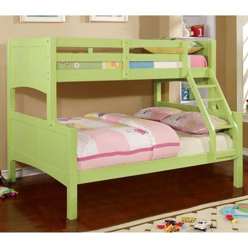 TWIN/TWIN LIME GREEN METAL BUNK BED BY FURNITURE OF AMERICA