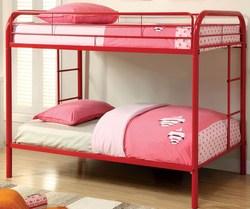 TWIN/TWIN RED METAL BUNK BED BY FURNITURE OF AMERICA