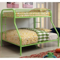 TWIN/FULL LIME GREEN METAL BUNK BED BY FURNITURE OF AMERICA