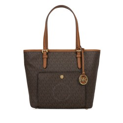 MICHAEL KORS BROWN  MK JET SET MED TZ SNAP POCKT SIGNATURE TOTE