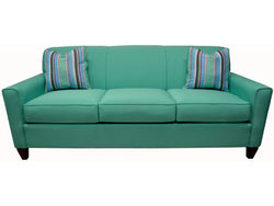 SOFA & CHAIR IN SOFT BLUE WITH THROW PILLOWS BY LACROSS