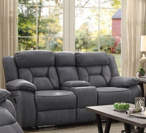 COASTER GRY 2 REC CONSL LOV BSBL STCH W/DK GRY ACCNT Loveseat Only