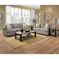 SOFA LOVESEAT IN DURABLE GRAY CHINELE BY SIMMONS