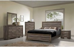 BERNARD KG GRAY RUSTIC DRIFTWOOD QN BED/DRES/MIR/NGHT BEDROOM SET