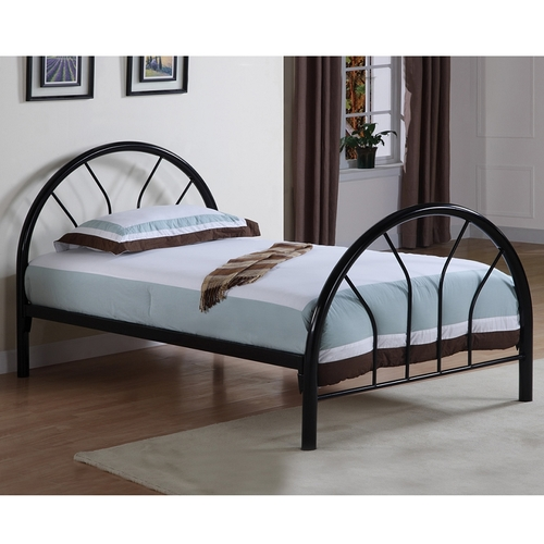 COASTER BLACK IRON TWIN BED WITH MATTRESS
