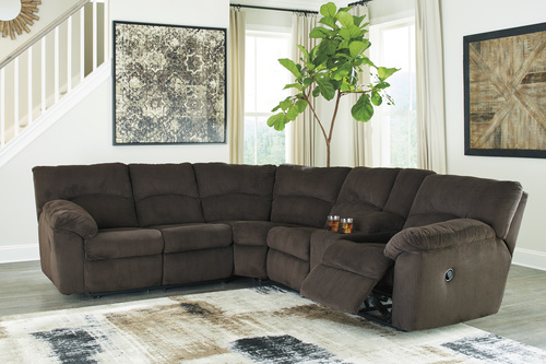 HOPKINTON CHOCOLATE DUAL RECLINING SECTIONAL BY ASHLEY