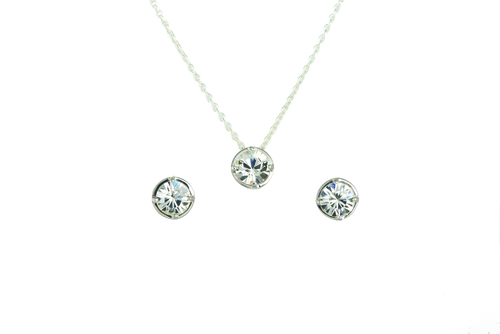 STERLING SILVER SWAROVSKI CRYSTAL 2.00 CTTW ROUND EARRING AND 1.0 CT PENDANT WITH CHAIN