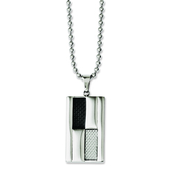 STAINLESS STEEL POLISHED BLACK AND GREY CARBON FIBER INLAY 24 IN NECKLACE