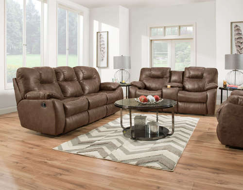 X-oos-  BROWN TWO-TONED DUAL RECLINING LOVESEAT