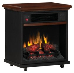 PRTBLE HEATER BLACK FRONT W/WALNUT TOP LOG LOOK