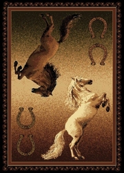 TWO PONIES AND HORSESHOES RUG