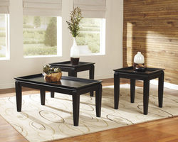 BLACK TRAY TOP 3PC COFFEE TABLE