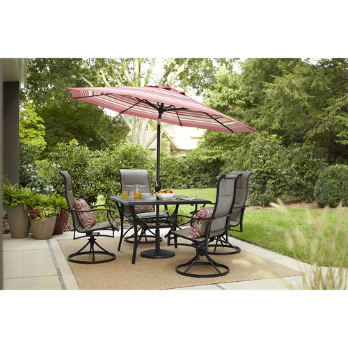 PATIO TABLE & 4 SWIVEL METAL CHAIRS W/RED CUSHIONS