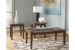 BROWN 3PIECE COFFEE & END TABLES W/FAUX MARBLE TOP