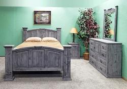 GRAY RUSTIC PANEL QUEEN BED/DRESSER/MIRROR/NIGHT