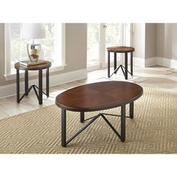 CHLOE DARK BROWN TOP W/IRON BASE 3PC COFFEE TABLE