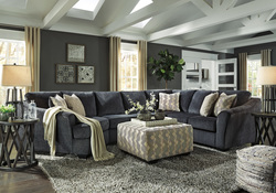SLATE BLUE CURVED 3 PIECE SECTIONAL