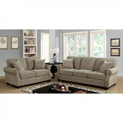 KHAKI SOFA & LOVE W/NAILHEAD & 4 ACCENT PILLOWS
