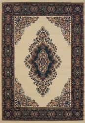 rug 5x8 TRADITIONAL CATHEDRAL CREAM AND BLUE