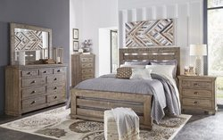 QUEEN WEATHERED GRY BEDROOM SET W/DRESSER, MIRROR, NT STAND