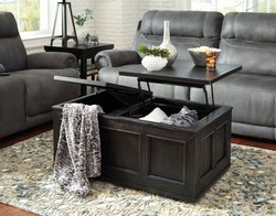ASHLEY LIFT /STORAGE COFFEE TABLE ONLY RUBBED BLK FINISH