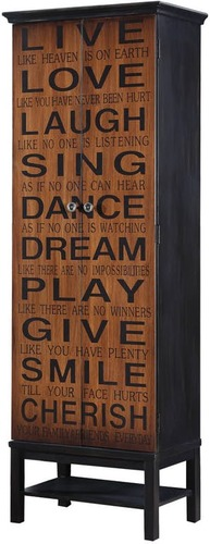 COASTER BROWN ACCENT CABINET W/PHRASES ON FRONT