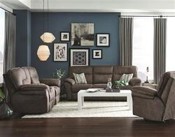 SOUTHERN MOTION BURGUNDY RECLINING SOFA LOVE W/CONSOLE