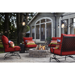 SET OF TWO SPRING MOTION CONVERSATION LAWN CHAIRS