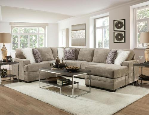 HEARTH TONE REVERSIBLE CHAISE SECTIONAL W/6 ACCENT PILLOWS